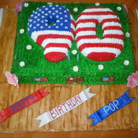 90Th Flag Birthday Cake I made this for my grandfathers 90th birthday, and since he was a wounded veteran, I decided to make the 90 into an american flag. I made...