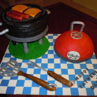 Bbq Grill Cake For Fathers Day I made this cake for my husband, and his dad for fathers day. I made a checkered board base out of fondant. Both cakes are buttercream. I...