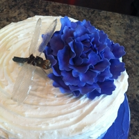 Ombre Textured Buttercream Cake With Gumpaste Peony & Dragonfly