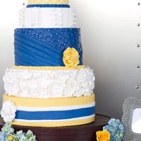 Blue And Yellow Wedding Cake With Lots Of Texture Blue and Yellow wedding cake with lots of texture