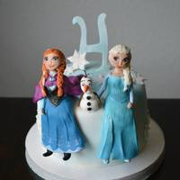 Frozen 4Th Birthday Cake With Handmade Fondant Characters Frozen 4th birthday cake with handmade fondant characters