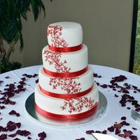 Red Scroll Work Wedding Cake Red Scroll Work Wedding Cake
