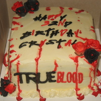 "True Blood Cake  Dark chocolate cake with ""blood red"" almond custard and a white buttercream. Edible blood made with conf sugar, water, chocolate..."