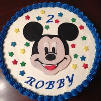 Mickey Mouse Birthday 2nd birthday cake for my son. Chocolate cake with chocolate mousse filling frosted with vanilla Italian meringue buttercream. Fondant...