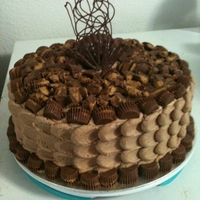 Peanut Butter Cake Chocolate cake mingle with peanut butter cups. Peanut butter/ fudge filling with peanut butter frosting.