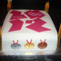 2012 Olympic Cake Choc fudge cake covered with fondant for my brother's Opening Ceremony party for the London 2012 Olympics.