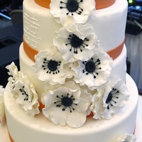 Double Happiness Double Happiness chinese symbol on the wedding cake with Anemone flowers.