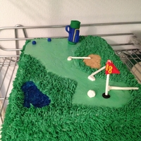 Golf Groom's Cake The bride wanted a golf themed groom's cake. This was my favorite cake I've ever made! The sand trap is made out of crushed...