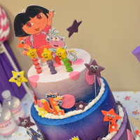Dora Cake Dora cake. Three tiered cake: 10 in. white almond (bottom tier), 8 in. chocolate (middle tier), and 6 in. strawberry (top tier) all...