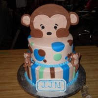 "Peek-A-Boo Monkey Cake Two tier 10"" strawberry and 8"" white almond cake covered in buttercream icing with fondant polka dots and strips. Monkeys were..."