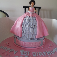 Princess Doll Cake  This cake is quite popular amongst little girls. This is the third one I have made for a little girls 1st birthday. Princess doll or Barbie...