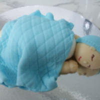 Sleeping Baby Cake Topper For Baby Shower Cakes   I made this Sleeping Baby Cake Topper out of fondant. Please visit my page at http://facebook.com/Serascakecreations .