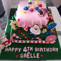 Alice In Wonderland Birthday Cake  I made this two tier Alice In Wonderland Theme cake for a little girls 4th birthday. Please visit my page at http://www.facebook.com/...