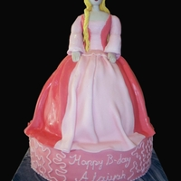 Princess Skirt and bottom were cake. The body of the princess was made with rice crispies.