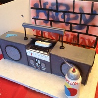 Boombox Cake All cake boombox; paint can is RKT covered in fondant w/fiber optics spray from top; food color spray painted graffiti wall