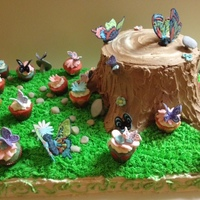 Butterfly Garden Buttercream covered stump and field; chocolate butterflies tracing a template; fondant butterflies using Jem Lacey Butterfly Cutters