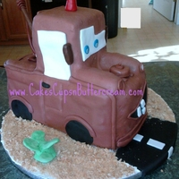 Mater Mater from Disney's Cars - Vanilla cake covered in 2-1 part ratio modeling chocolate & fondant