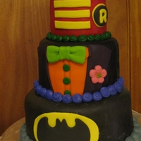"Batman, Joker & Robin Birthday Cake 3-tiered cake (4"", 6"", & 8"") for my two boys, who had their 2nd and 5th birthdays only six days apart. WASC cake on all..."