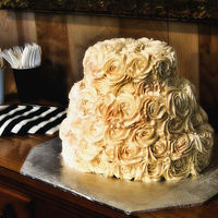 Oval Wedding Cake With Ivory Roses Ivory buttercream over red velvet cake. I used a 2D tip instead of 1M tip on the roses so the petals would be a bit more defined, since I...