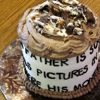 "Father's Day Quote Cake Red Velvet with cream cheese frosting and fudge cream cheese frosting. Quote on the side of the cake reads, ""A father is someone who..."