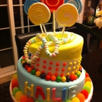 Candy cake covered in fondant with fondant and candy details