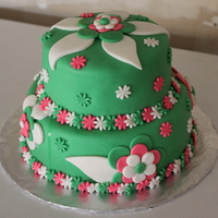 Green Cake With Flowers