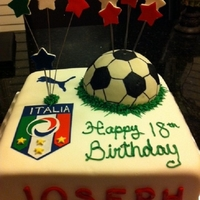 Italia Soccer Cake fondant cover and stars