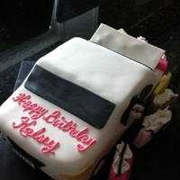 Shopping And New Car car made out of cake with fondant/gumpaste details and shopping bags.