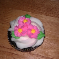 Mother's Day Cupcakes Chocolate cupcake with vanilla butter cream swirl and drop flowers