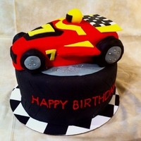"Race Car Cake 8"" rounds & a loaf pan for the car, cripsy treat wheels..."