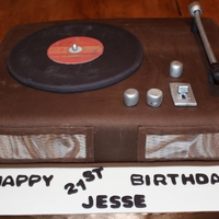 Record Player Cake  I made this cake for my sons 21st birthday. Chocolate cake, cookies & cream butter cream, vanilla cake, cookies & cream butter...