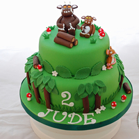 Oh Help! Oh No! It's A Gruffalo!  2 tiered cake with the Gruffalo, Gruffalo's child and mouse. My little boy is obsessed with the Gruffalo so it was easy to decide what...