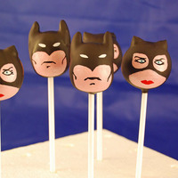 Batman And Catwoman   Batman and Catwoman cake pops!