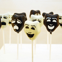 Comedy And Tragedy Mask Cake Pops   Theatrical cake pops for a lady's 80th birthday :)