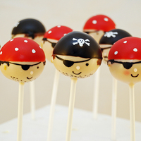 Pirate Cake Pops!   Pirate cake pops to go with the treasure chest cake I made for my son's birthday party. Arrrrr!
