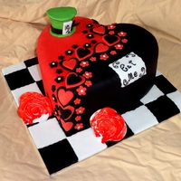 Alice In Wonderland Heart Cake Alice in Wonderland themed Heart Cake, with Heart and Blossom pattern, Mad Hatter's hat, Roses painted red and the typical 'Eat...