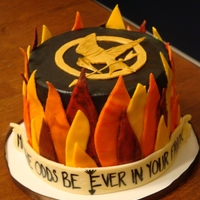The Hunger Games Flames are marbled fondant and mockingjay pin is made out of gold gumpaste, then painted with gold pearl dust, and details painted with...
