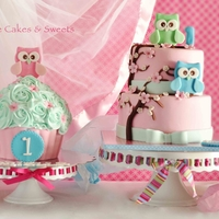 Owls Cake And Matching Giant Cupcake I made this two tiers cake and matching giant cupcake for a baby girl's 1st birthday party. Her parents designed a beautiful...