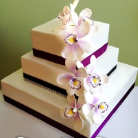 Purple Orchid Elegant Wedding Cake