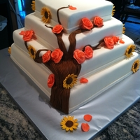 Coral Roses& Sunflower Wedding Cake