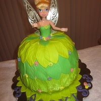 Tinkerbell Doll Cake  My 1st doll cake for my granddaughter's 3rd bd. She loves Tinkerbell and hope she will love this. I made a white cake with lemon...