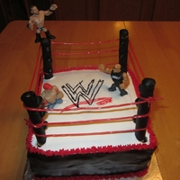 Wwe Birthday Cake  All 3 grandsons have birthdays in March and they all love WWE. I used pretzel rods covered with fondant for the poles and licorice strings...