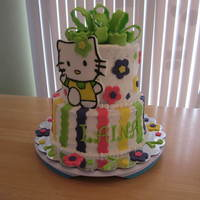 Hello Kitty  This is my first 2 tier cake frosted with buttercream frosting that didn't crust well but did my best. I loved the cake mbark made and...