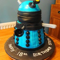 "Dr Who Dalek Cake Dr Who's arch nemesis, Dalek cake for an 18th Birthday. It is 16"" tall and made from a 6"" wide dome on top with a tapered 9&..."