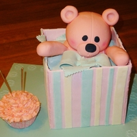 "Teddy In A Box Birthday Cake 6"" square cake all covered in fondant."