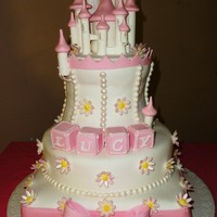"Fairytale Princess Castle Cake This cake was a 3 tiered fondant covered cake for my neice's Christening. The bottom cake was an 11"" square, vanilla cake with..."