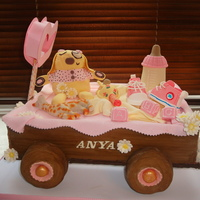 "Toy Cart Baptism Cake This cake was made for my neice's christening. It is made from a 15"" rectangle cake. I made the wooden box from panels of..."