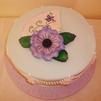"Anemone And Fan Birthday Cake This cake was made for my Auntie's birthday. It is a chocolate orange 8"" round covered in mint green fondant and piped with royal..."