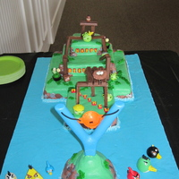 "Angry Birds Cake This is an interactive ""Angry Birds Cake"" complete with slingshot. The characters are made out of gumpaste so they can be thrown..."