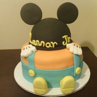 Baby Mickey Cake Almond cake with buttercream filling and covered with fondant